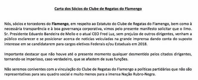 Carta dos sócios do C.R Flamengo